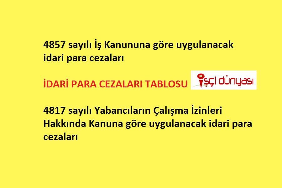 4857 4817 idari para cezalari tablo