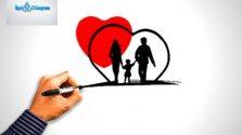 kırmızı kalp içinde anne baba ve çocuk