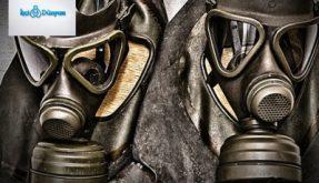 iki adet nükleer sızıntı koruma başlığı