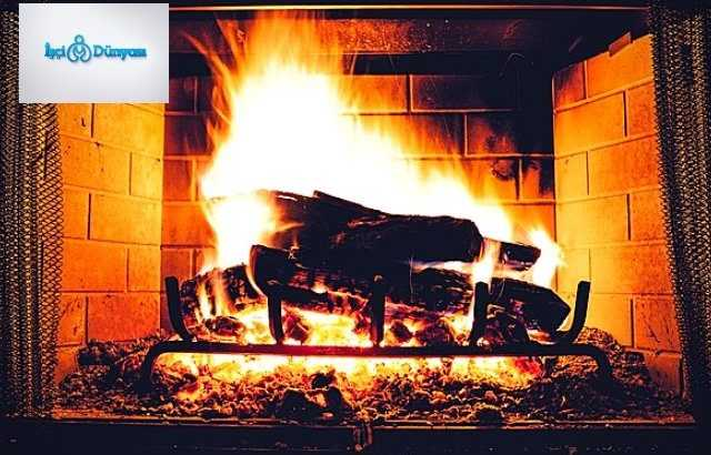 yanan kömür ve şömine