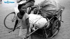 araba çeken çocuk işçi