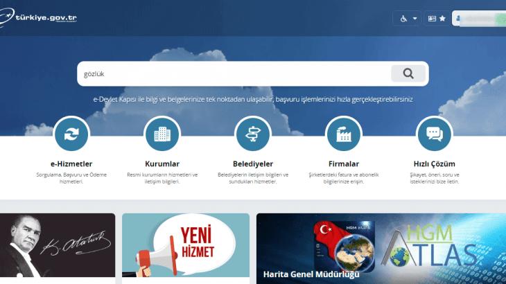 e-devlet anasayfa görüntüsü